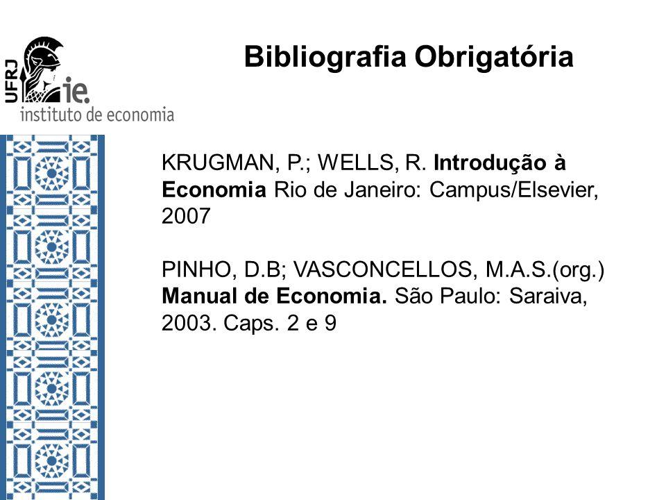 Bibliografia Obrigatória KRUGMAN, P.; WELLS, R. Introdução à Economia Rio de Janeiro: Campus/Elsevier, 2007 PINHO, D.B; VASCONCELLOS, M.A.S.(org.) Man