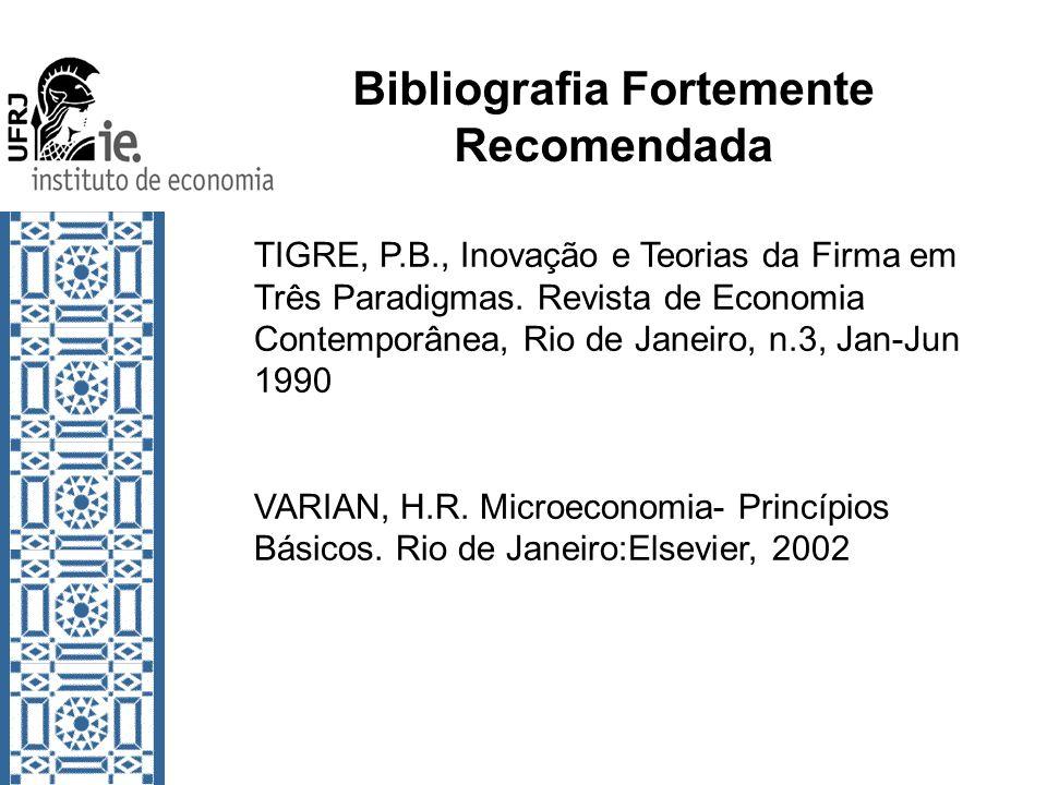 Bibliografia Fortemente Recomendada TIGRE, P.B., Inovação e Teorias da Firma em Três Paradigmas. Revista de Economia Contemporânea, Rio de Janeiro, n.