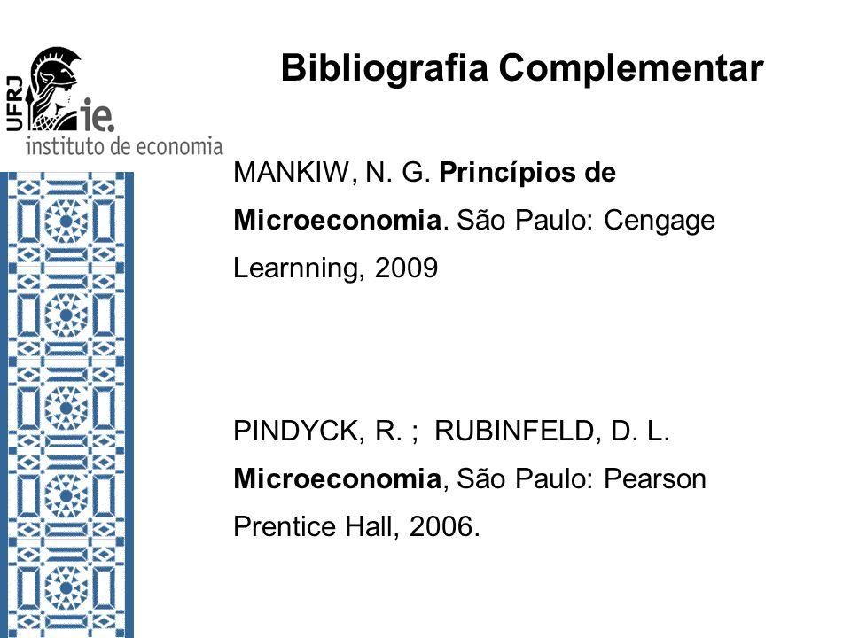 Bibliografia Complementar MANKIW, N. G. Princípios de Microeconomia. São Paulo: Cengage Learnning, 2009 PINDYCK, R. ; RUBINFELD, D. L. Microeconomia,