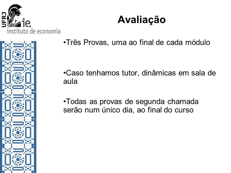 Avaliação Três Provas, uma ao final de cada módulo Caso tenhamos tutor, dinâmicas em sala de aula Todas as provas de segunda chamada serão num único d