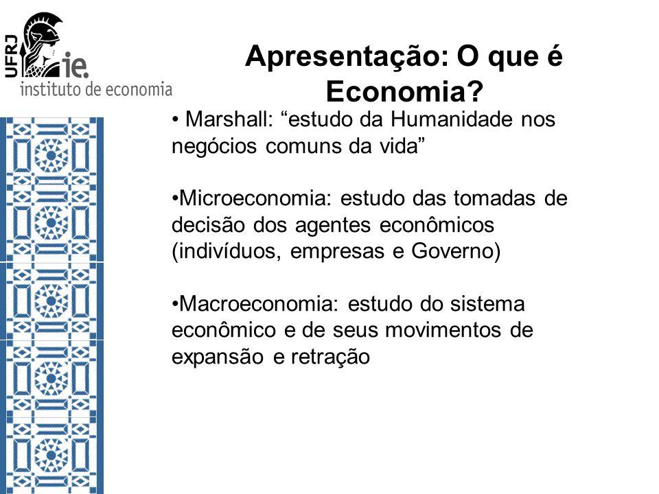 Apresentação: O que é Economia? Marshall: estudo da Humanidade nos negócios comuns da vida Microeconomia: estudo das tomadas de decisão dos agentes ec