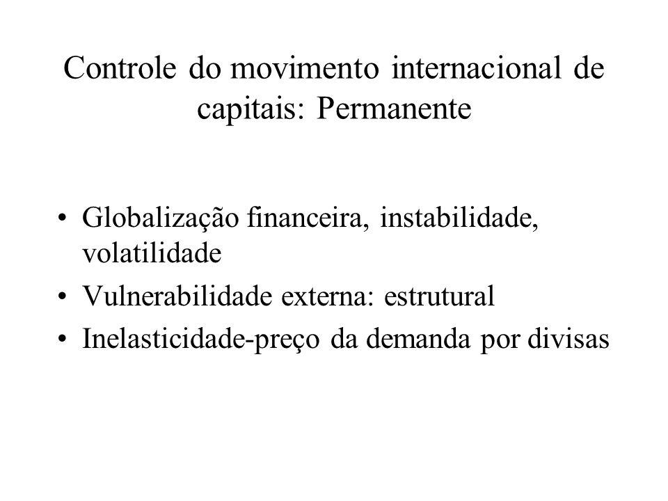 Controle do movimento internacional de capitais: Permanente Globalização financeira, instabilidade, volatilidade Vulnerabilidade externa: estrutural Inelasticidade-preço da demanda por divisas