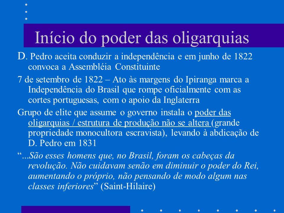 Início do poder das oligarquias D. Pedro aceita conduzir a independência e em junho de 1822 convoca a Assembléia Constituinte 7 de setembro de 1822 –