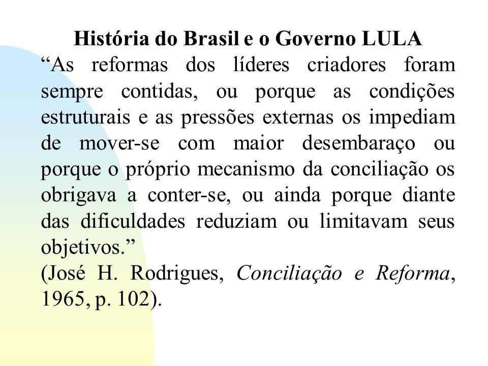 História do Brasil e o Governo LULA As reformas dos líderes criadores foram sempre contidas, ou porque as condições estruturais e as pressões externas