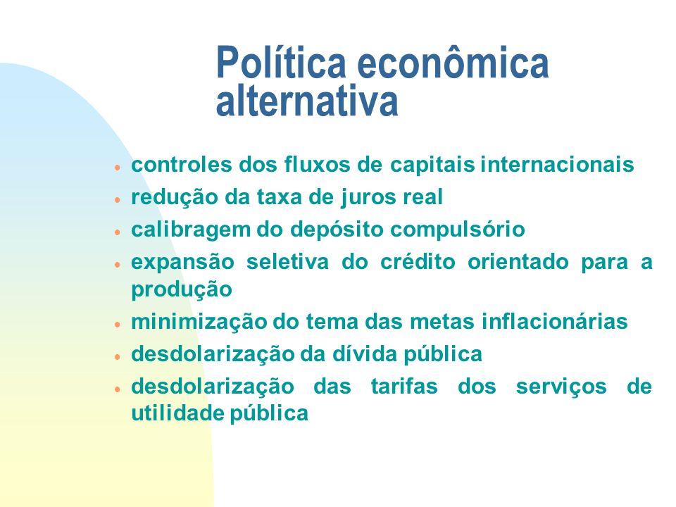 Política econômica alternativa controles dos fluxos de capitais internacionais redução da taxa de juros real calibragem do depósito compulsório expans