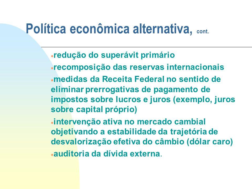 Política econômica alternativa, cont. redução do superávit primário recomposição das reservas internacionais medidas da Receita Federal no sentido de