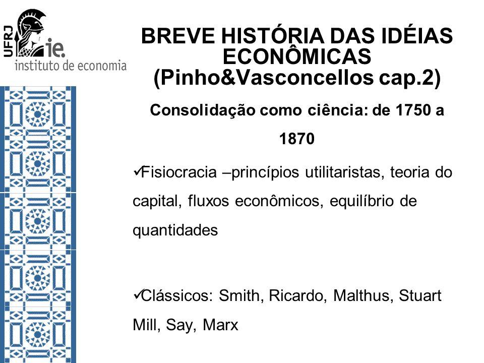 BREVE HISTÓRIA DAS IDÉIAS ECONÔMICAS (Pinho&Vasconcellos cap.2) Consolidação como ciência: de 1750 a 1870 Fisiocracia –princípios utilitaristas, teori