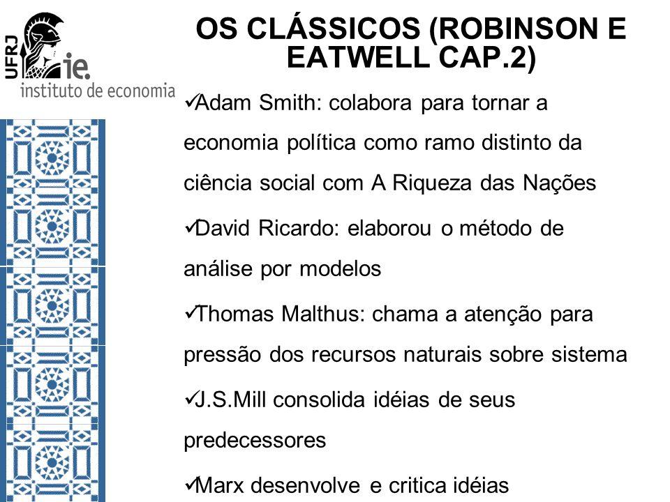 OS CLÁSSICOS (ROBINSON E EATWELL CAP.2) Adam Smith: colabora para tornar a economia política como ramo distinto da ciência social com A Riqueza das Na