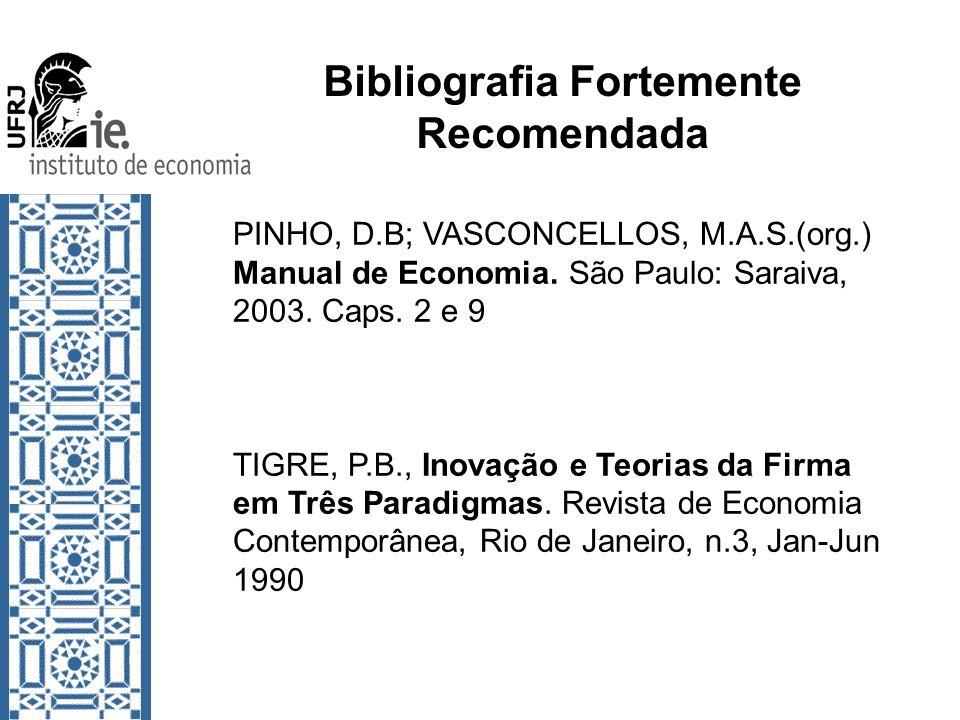 Bibliografia Fortemente Recomendada PINHO, D.B; VASCONCELLOS, M.A.S.(org.) Manual de Economia. São Paulo: Saraiva, 2003. Caps. 2 e 9 TIGRE, P.B., Inov