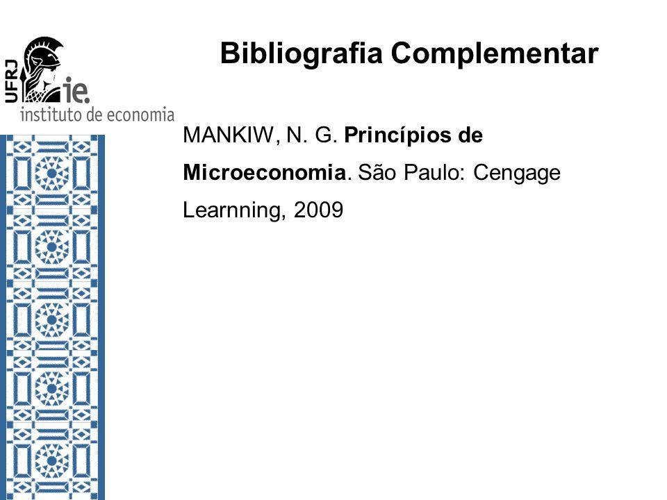 Bibliografia Complementar MANKIW, N. G. Princípios de Microeconomia. São Paulo: Cengage Learnning, 2009