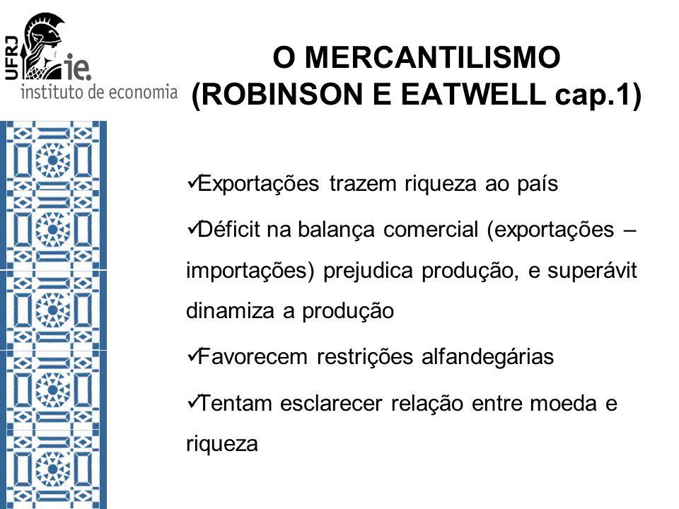 O MERCANTILISMO (ROBINSON E EATWELL cap.1) Exportações trazem riqueza ao país Déficit na balança comercial (exportações – importações) prejudica produ