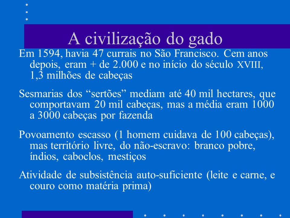 A civilização do gado Em 1594, havia 47 currais no São Francisco. Cem anos depois, eram + de 2.000 e no início do século XVIII, 1,3 milhões de cabeças