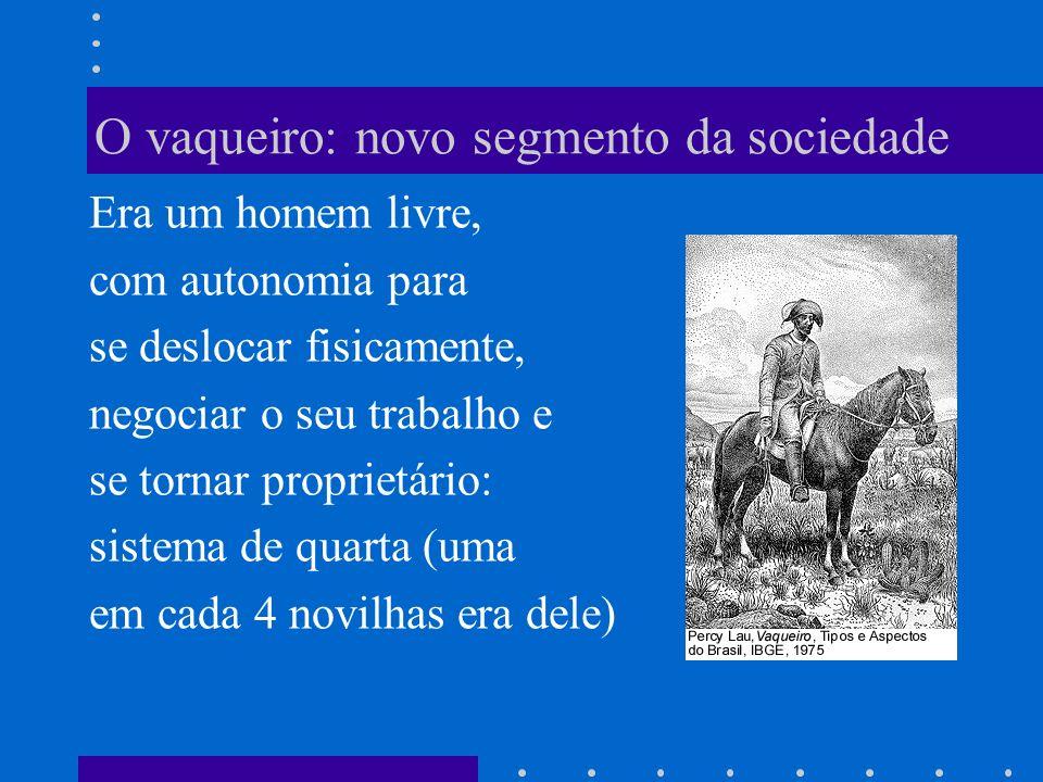 O vaqueiro: novo segmento da sociedade Era um homem livre, com autonomia para se deslocar fisicamente, negociar o seu trabalho e se tornar proprietári