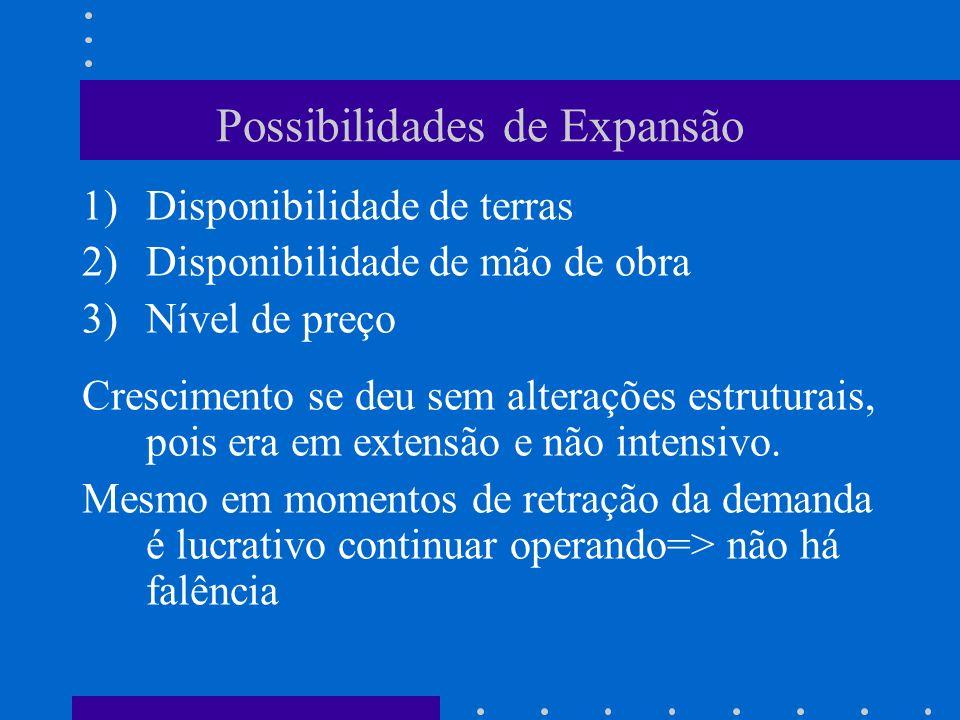 Possibilidades de Expansão 1)Disponibilidade de terras 2)Disponibilidade de mão de obra 3)Nível de preço Crescimento se deu sem alterações estruturais