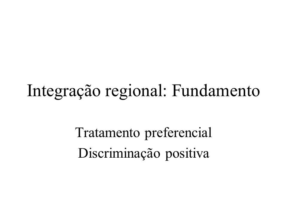 Integração regional: Fundamento Tratamento preferencial Discriminação positiva