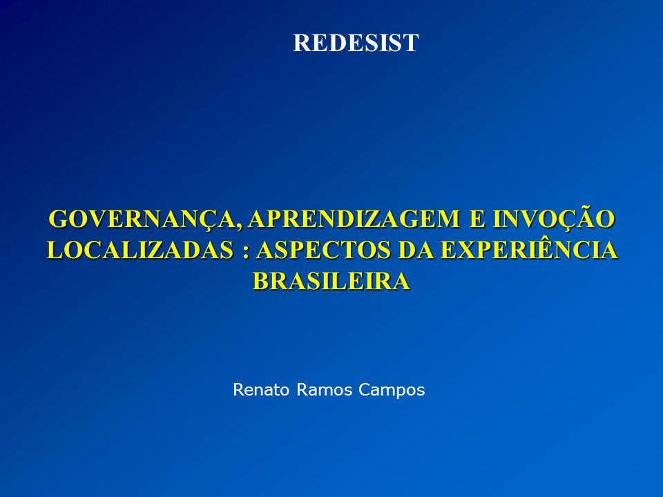Renato Ramos Campos GOVERNANÇA, APRENDIZAGEM E INVOÇÃO LOCALIZADAS : ASPECTOS DA EXPERIÊNCIA BRASILEIRA REDESIST
