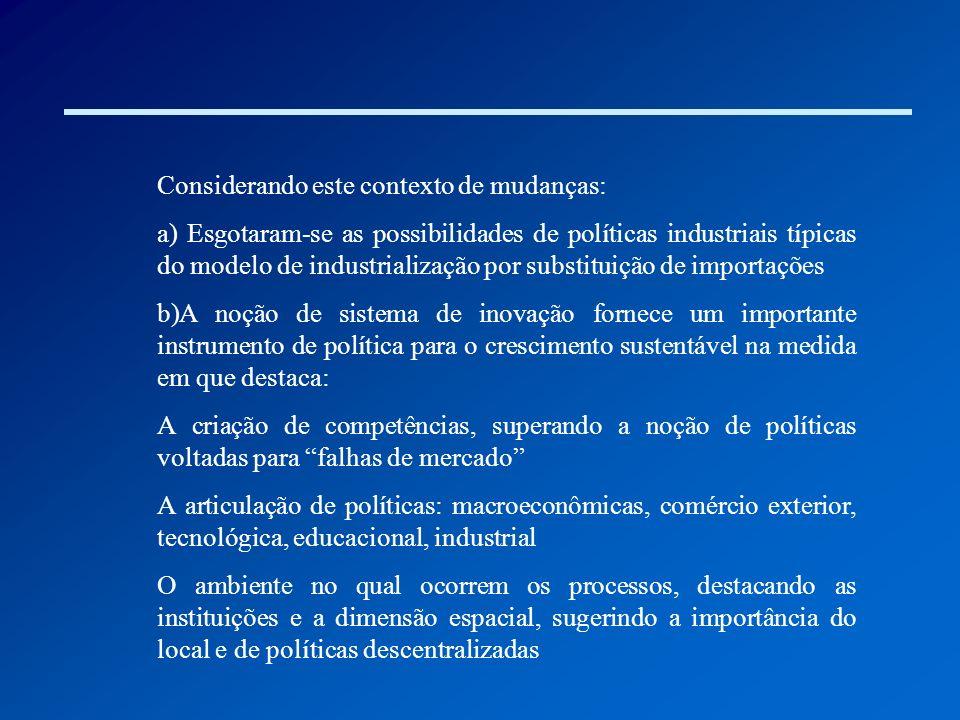 Considerando este contexto de mudanças: a) Esgotaram-se as possibilidades de políticas industriais típicas do modelo de industrialização por substitui