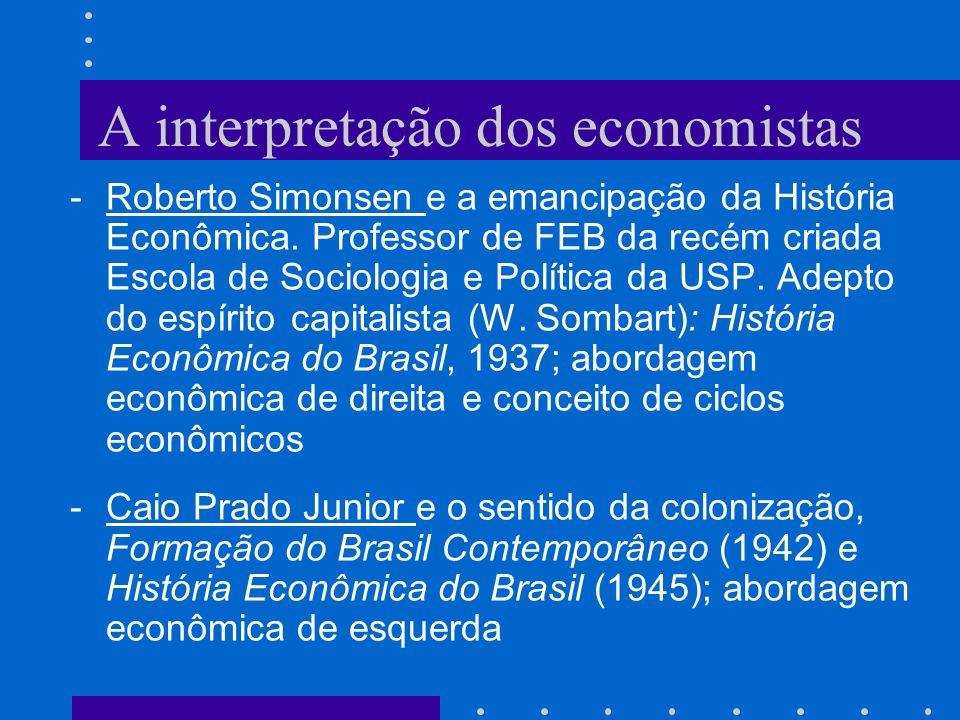 A interpretação dos economistas -Roberto Simonsen e a emancipação da História Econômica. Professor de FEB da recém criada Escola de Sociologia e Polít