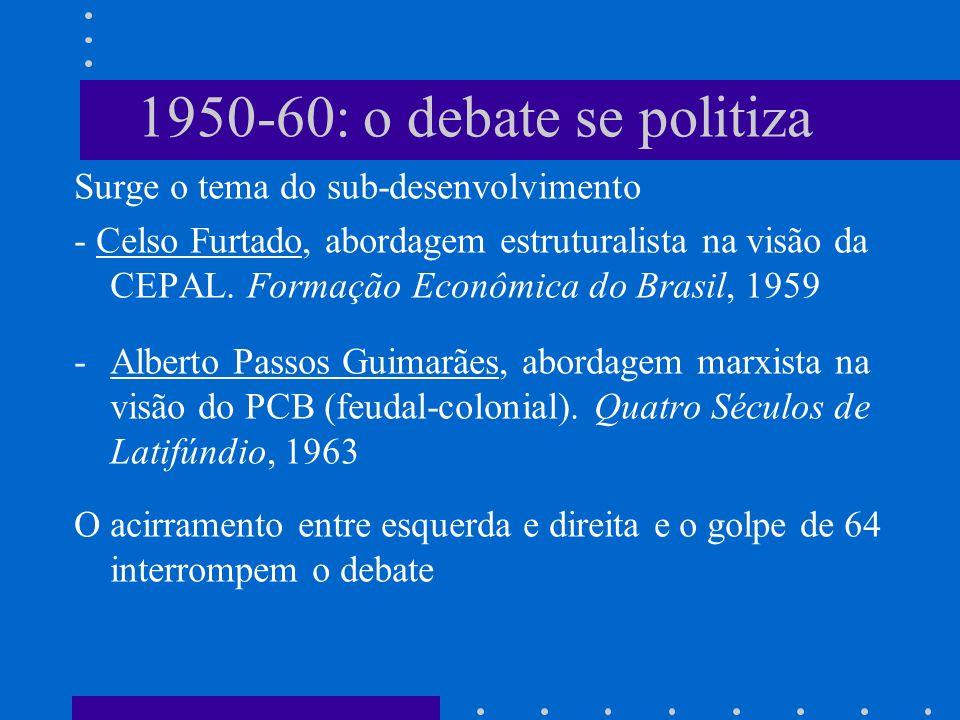 1950-60: o debate se politiza Surge o tema do sub-desenvolvimento - Celso Furtado, abordagem estruturalista na visão da CEPAL. Formação Econômica do B