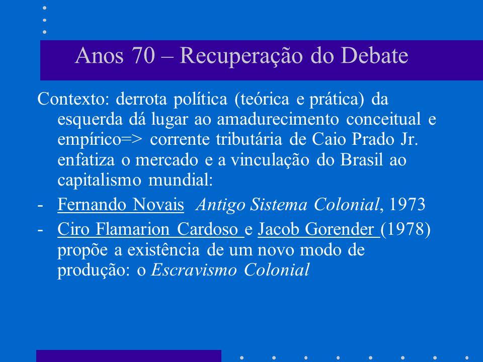 Anos 70 – Recuperação do Debate Contexto: derrota política (teórica e prática) da esquerda dá lugar ao amadurecimento conceitual e empírico=> corrente
