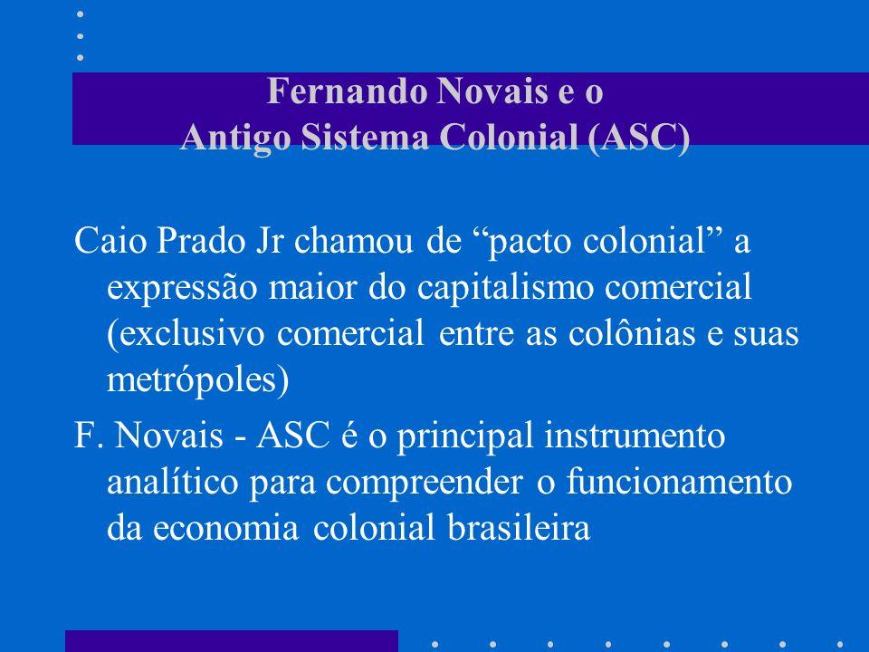 Fernando Novais e o Antigo Sistema Colonial (ASC) Caio Prado Jr chamou de pacto colonial a expressão maior do capitalismo comercial (exclusivo comerci