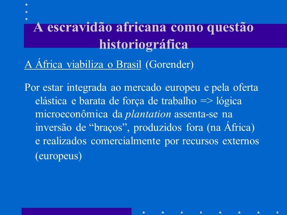 A escravidão africana como questão historiográfica A África viabiliza o Brasil (Gorender) Por estar integrada ao mercado europeu e pela oferta elástic