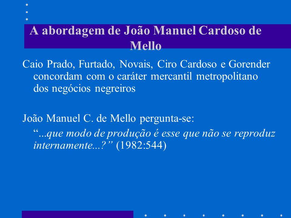 A abordagem de João Manuel Cardoso de Mello Caio Prado, Furtado, Novais, Ciro Cardoso e Gorender concordam com o caráter mercantil metropolitano dos n