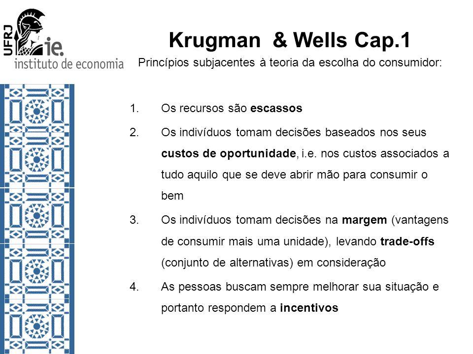 Krugman & Wells Cap.1 Princípios subjacentes à teoria da escolha do consumidor: 1.Os recursos são escassos 2.Os indivíduos tomam decisões baseados nos seus custos de oportunidade, i.e.