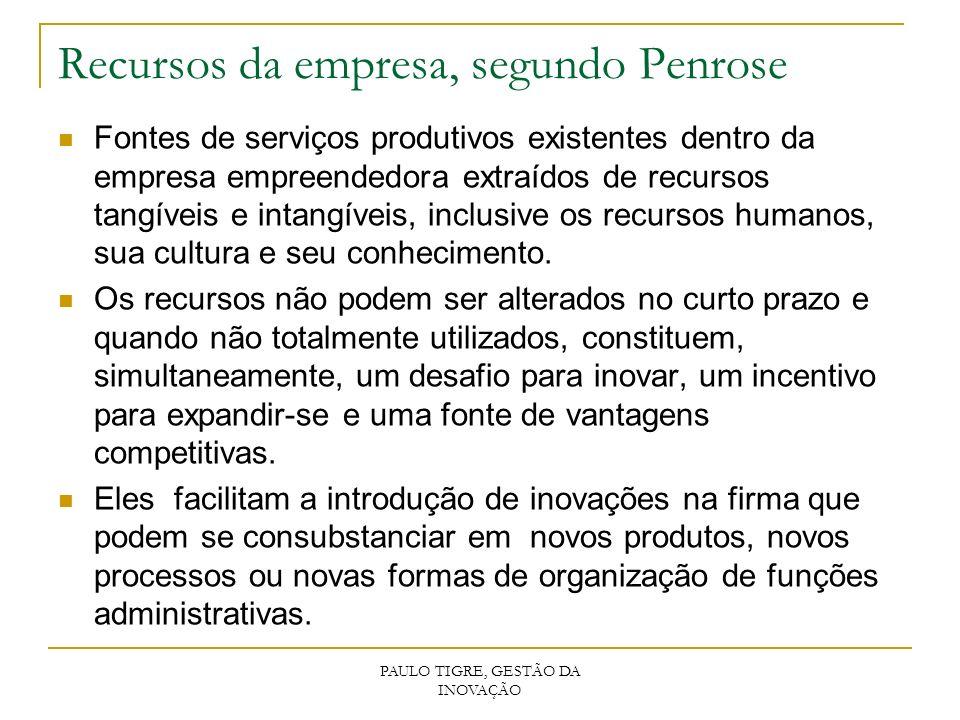 Recursos da empresa, segundo Penrose Fontes de serviços produtivos existentes dentro da empresa empreendedora extraídos de recursos tangíveis e intang