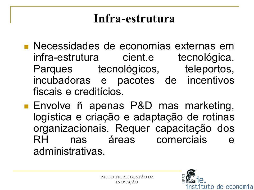 Infra-estrutura Necessidades de economias externas em infra-estrutura cient.e tecnológica. Parques tecnológicos, teleportos, incubadoras e pacotes de