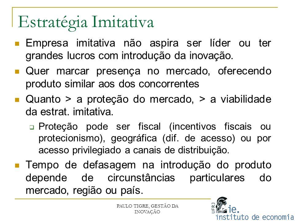 Estratégia Imitativa PAULO TIGRE, GESTÃO DA INOVAÇÃO Empresa imitativa não aspira ser líder ou ter grandes lucros com introdução da inovação. Quer mar