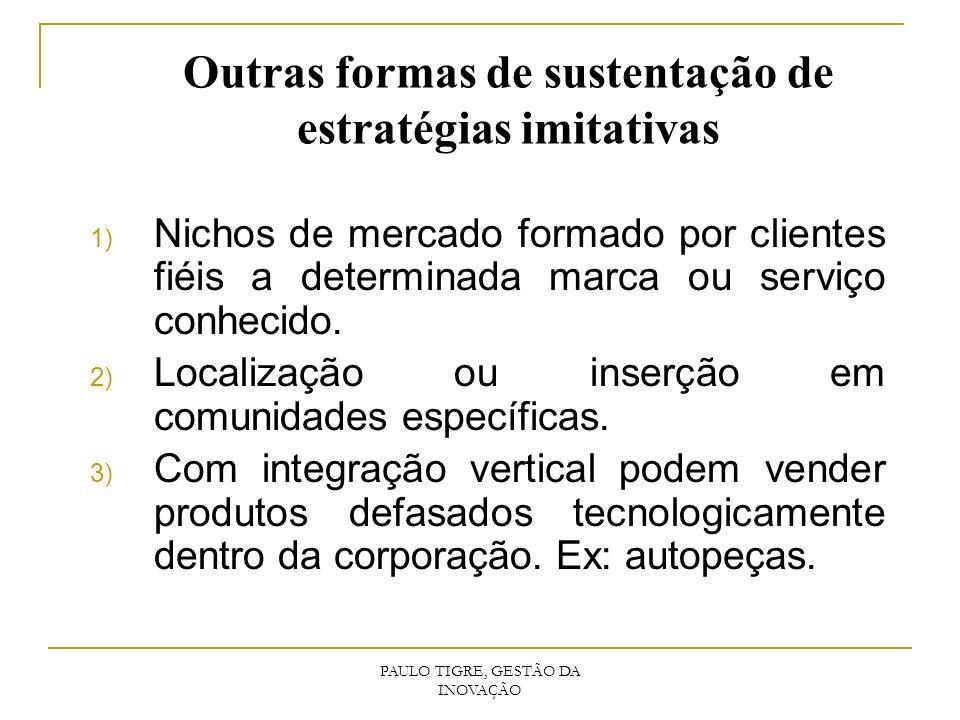 Outras formas de sustentação de estratégias imitativas 1) Nichos de mercado formado por clientes fiéis a determinada marca ou serviço conhecido. 2) Lo