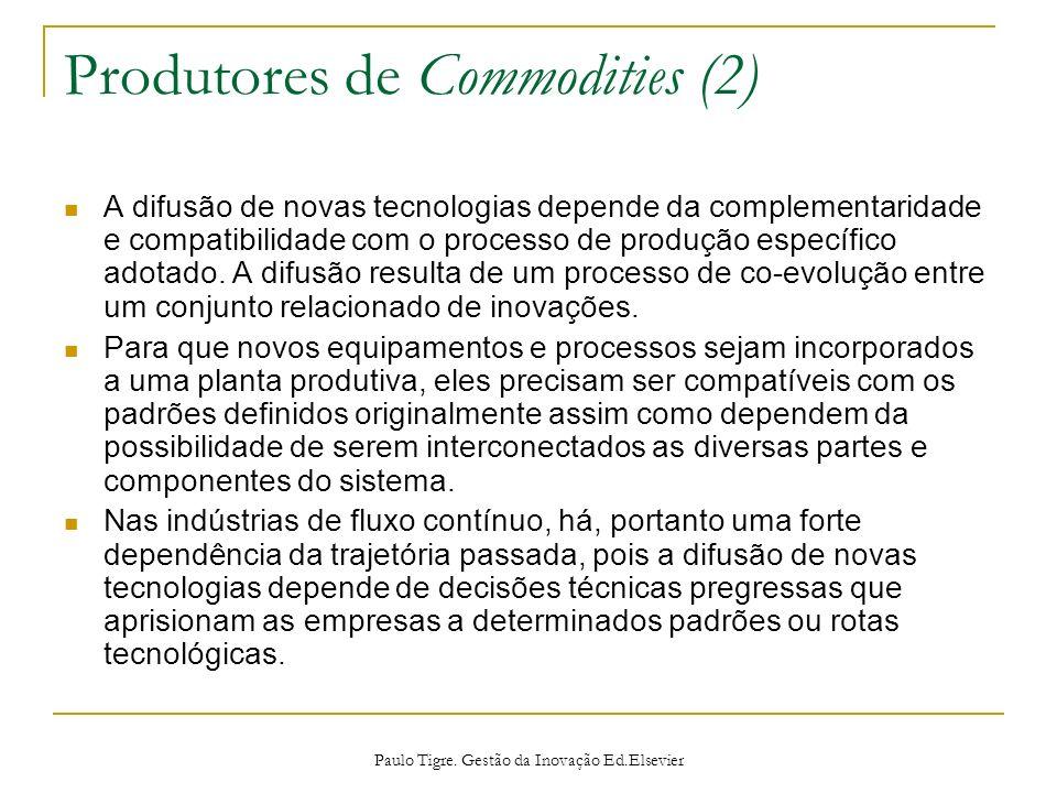 Produtores de Commodities (2) A difusão de novas tecnologias depende da complementaridade e compatibilidade com o processo de produção específico adot