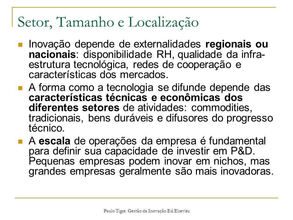 Setor, Tamanho e Localização Inovação depende de externalidades regionais ou nacionais: disponibilidade RH, qualidade da infra- estrutura tecnológica,