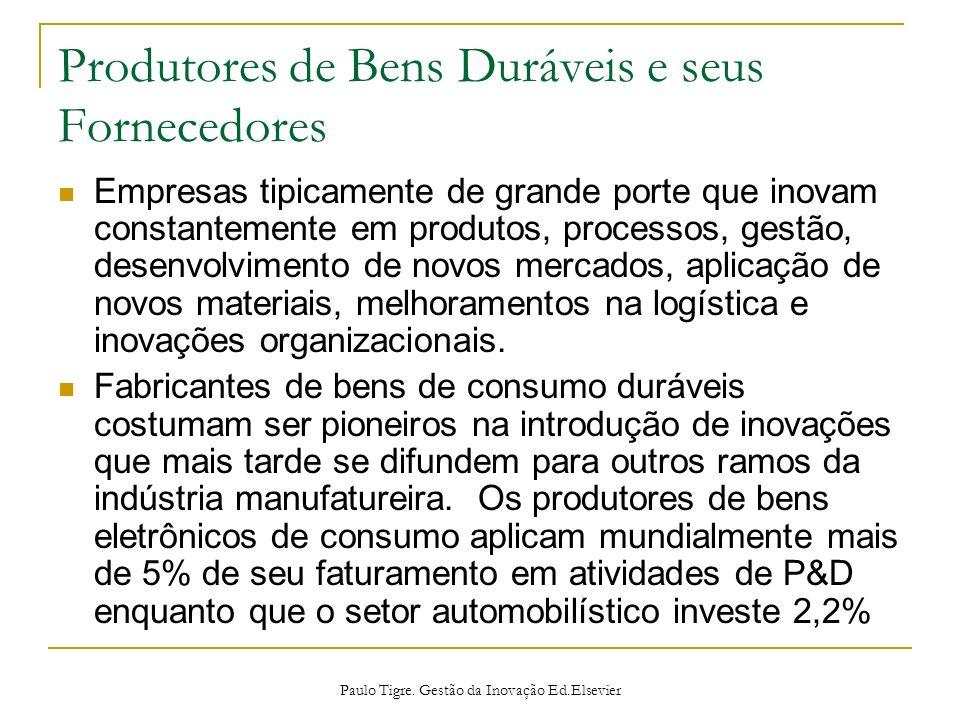 Produtores de Bens Duráveis e seus Fornecedores Empresas tipicamente de grande porte que inovam constantemente em produtos, processos, gestão, desenvo