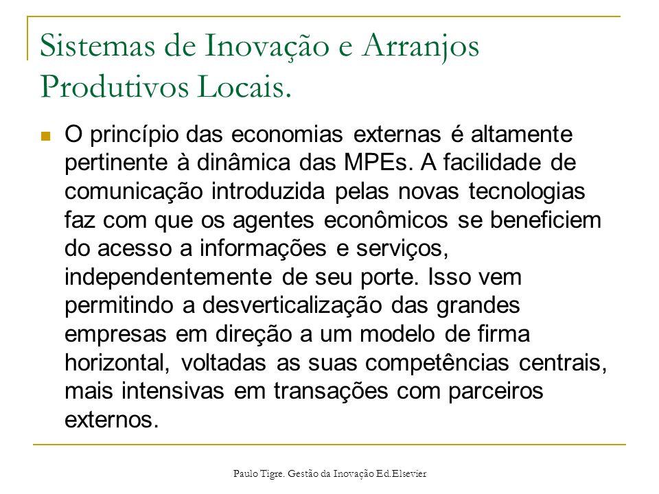 Sistemas de Inovação e Arranjos Produtivos Locais. O princípio das economias externas é altamente pertinente à dinâmica das MPEs. A facilidade de comu