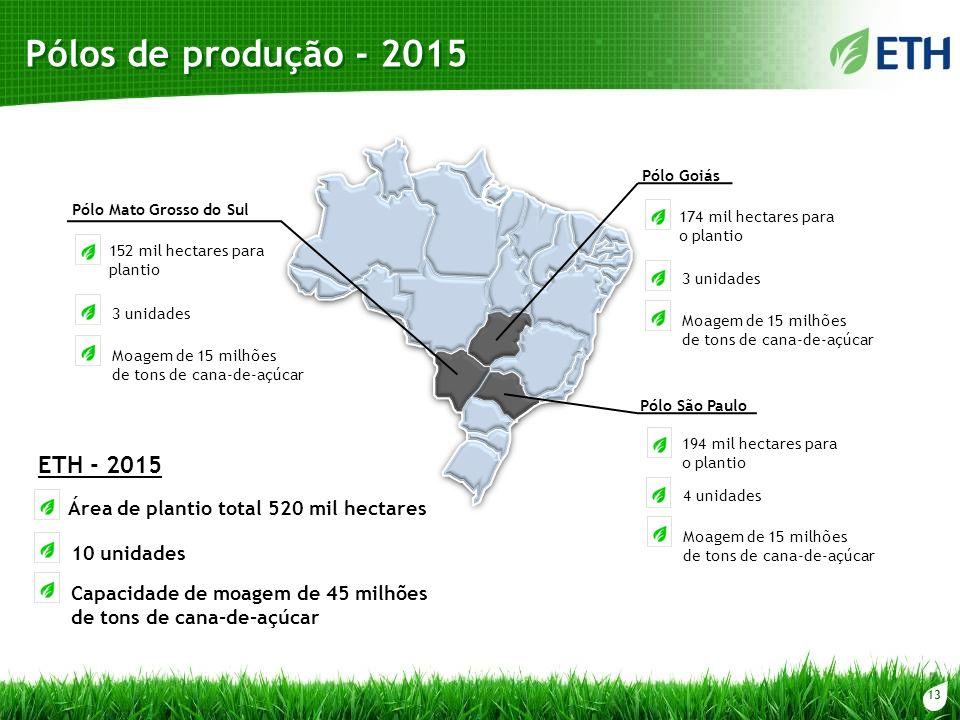 13 Pólos de produção - 2015 Pólo Goiás 174 mil hectares para o plantio 3 unidades Moagem de 15 milhões de tons de cana-de-açúcar 4 unidades Moagem de