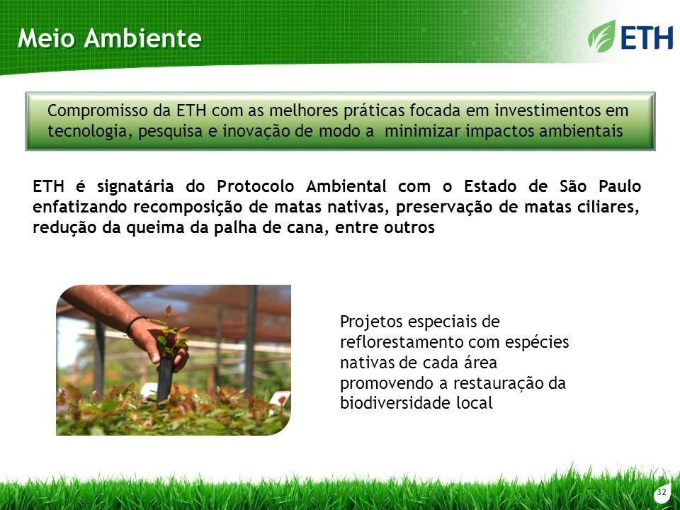 32 Meio Ambiente Projetos especiais de reflorestamento com espécies nativas de cada área promovendo a restauração da biodiversidade local Compromisso