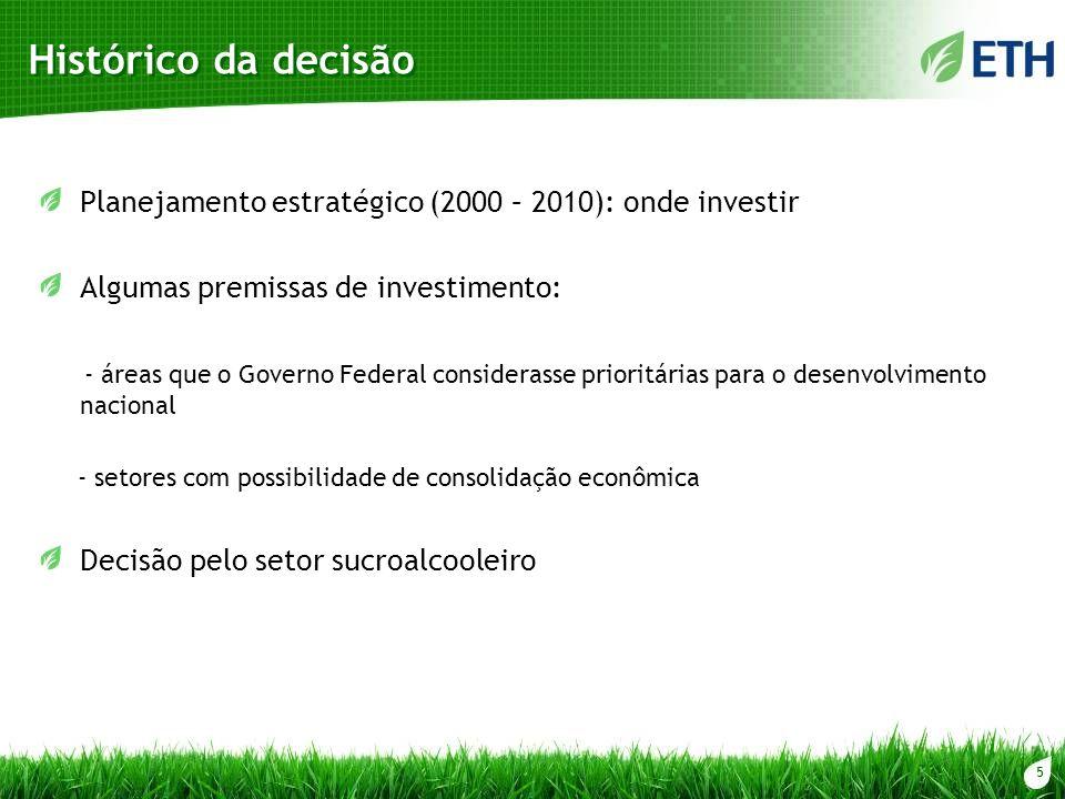 5 Histórico da decisão Planejamento estratégico (2000 – 2010): onde investir Algumas premissas de investimento: - áreas que o Governo Federal consider