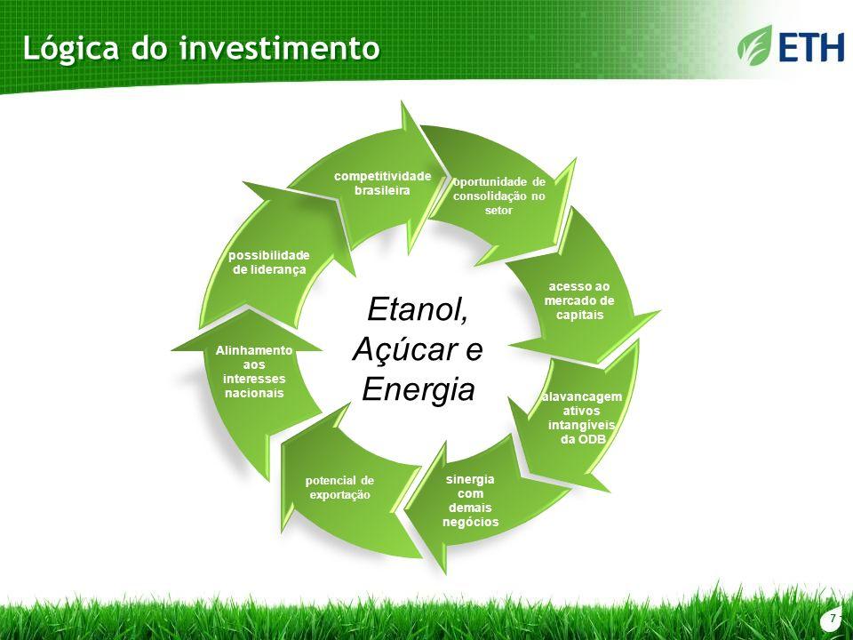 7 Lógica do investimento Etanol, Açúcar e Energia possibilidade de liderança competitividade brasileira oportunidade de consolidação no setor acesso a