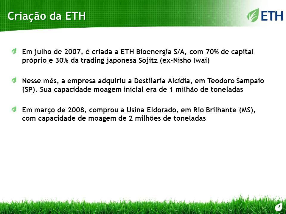 8 Criação da ETH Em julho de 2007, é criada a ETH Bioenergia S/A, com 70% de capital próprio e 30% da trading japonesa Sojitz (ex-Nisho Iwai) Nesse mê
