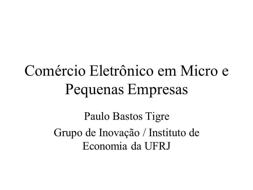 Comércio Eletrônico em Micro e Pequenas Empresas Paulo Bastos Tigre Grupo de Inovação / Instituto de Economia da UFRJ