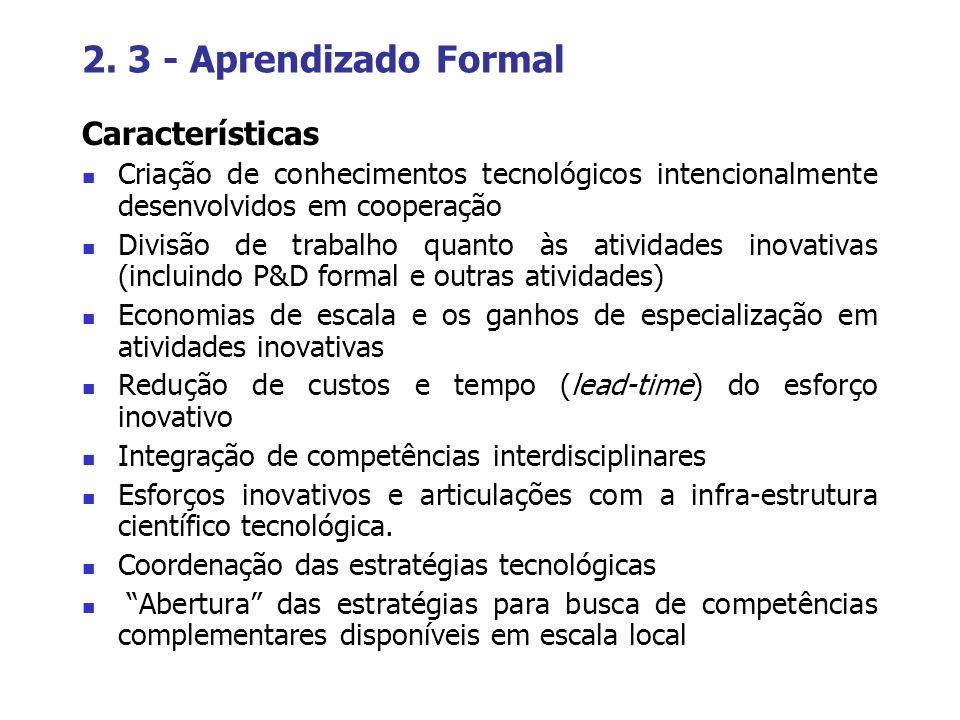 2. 3 - Aprendizado Formal Características Criação de conhecimentos tecnológicos intencionalmente desenvolvidos em cooperação Divisão de trabalho quant