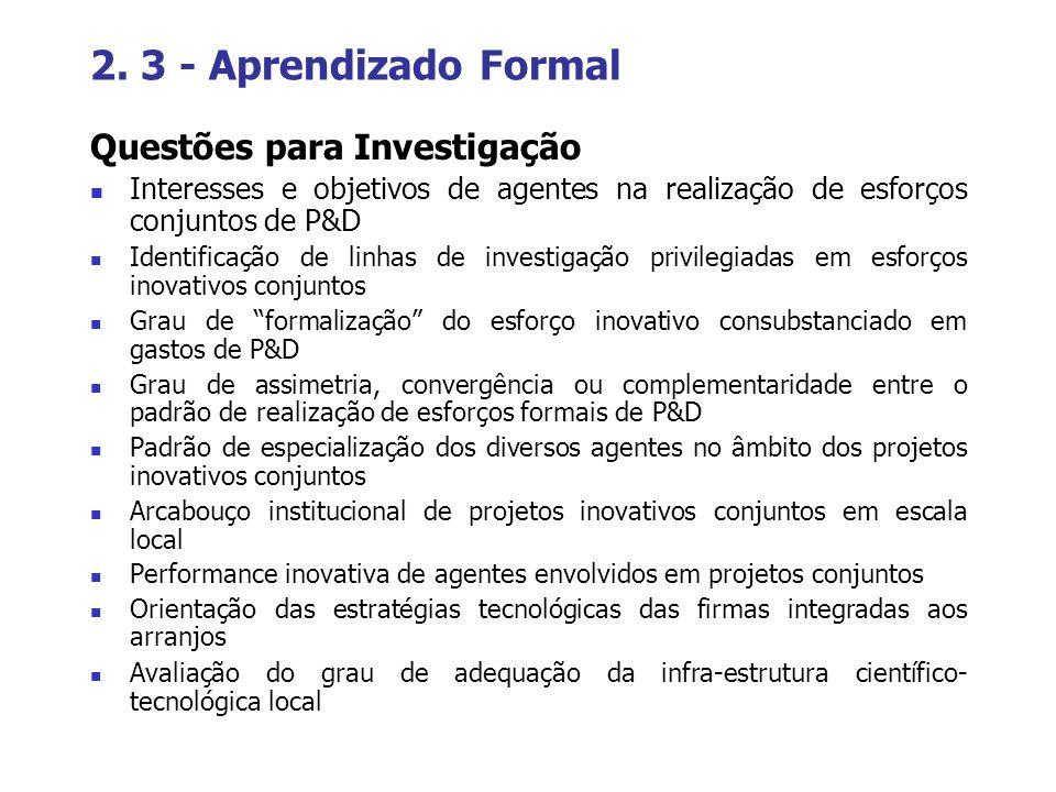 2. 3 - Aprendizado Formal Questões para Investigação Interesses e objetivos de agentes na realização de esforços conjuntos de P&D Identificação de lin
