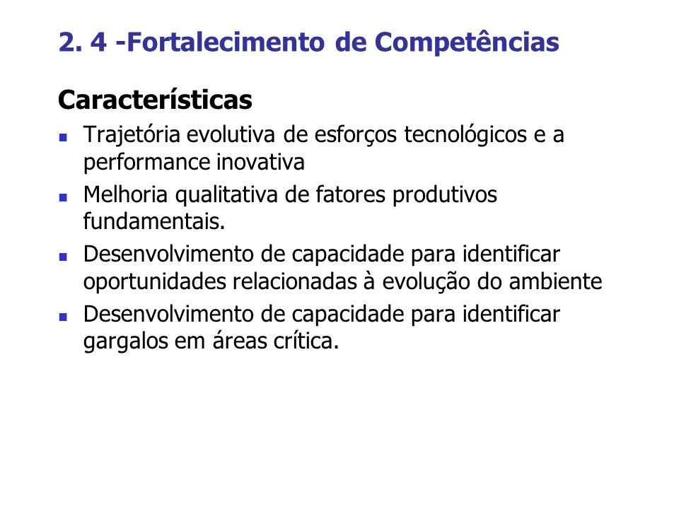 2. 4 -Fortalecimento de Competências Características Trajetória evolutiva de esforços tecnológicos e a performance inovativa Melhoria qualitativa de f