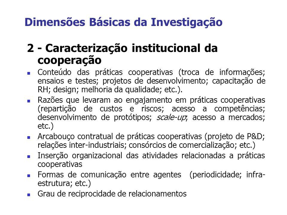 Dimensões Básicas da Investigação 2 - Caracterização institucional da cooperação Conteúdo das práticas cooperativas (troca de informações; ensaios e t