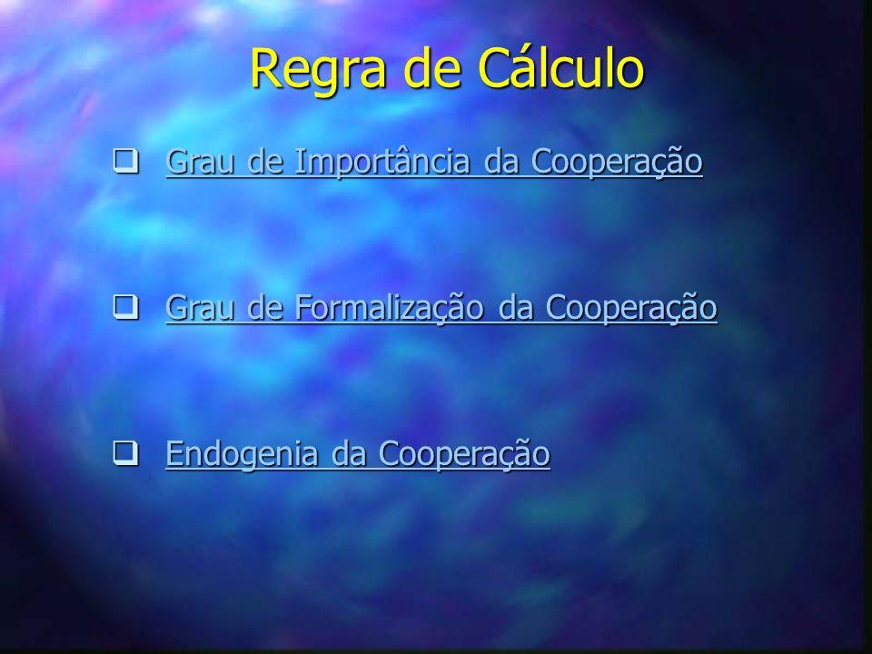 Regra de Cálculo Grau de Importância da Cooperação Grau de Importância da CooperaçãoGrau de Importância da CooperaçãoGrau de Importância da Cooperação