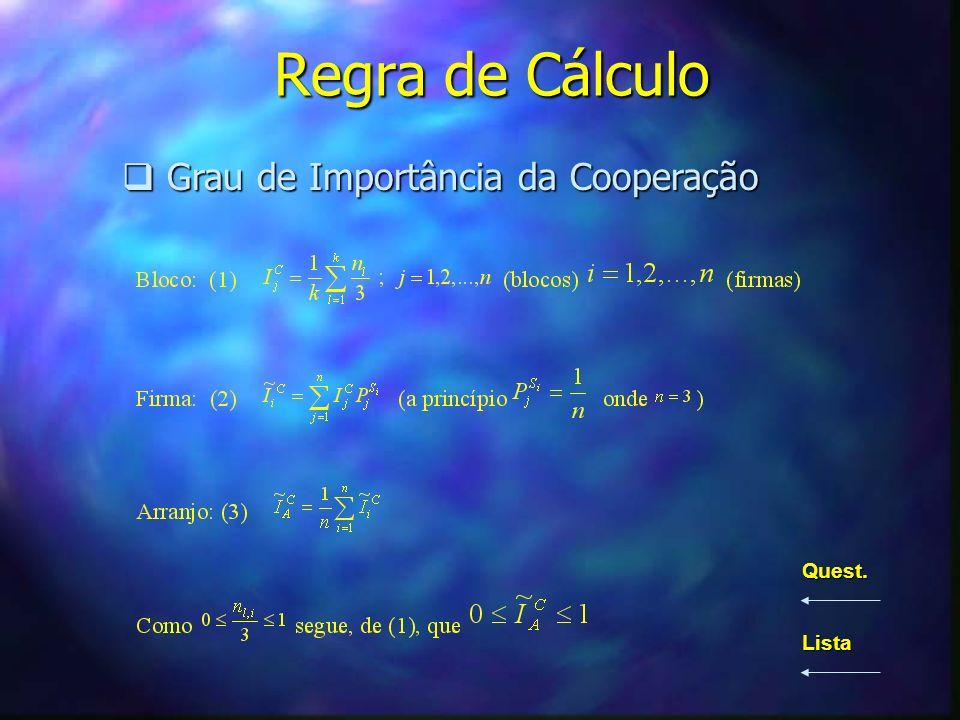 Regra de Cálculo Grau de Importância da Cooperação Grau de Importância da Cooperação Quest. Lista
