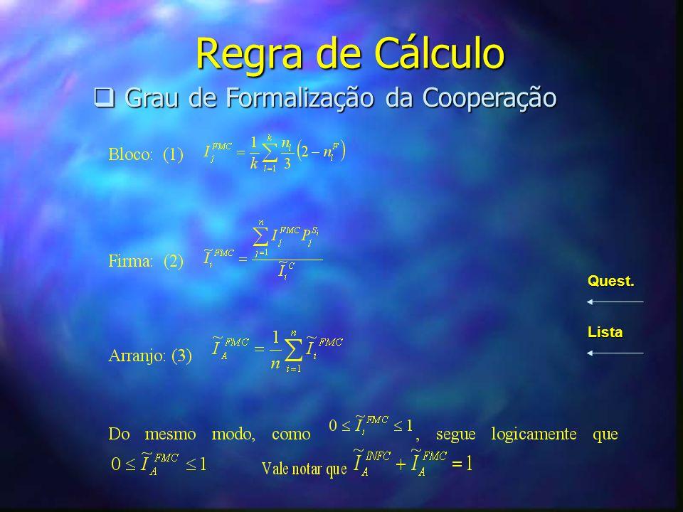 Regra de Cálculo Grau de Formalização da Cooperação Grau de Formalização da Cooperação Quest. Lista