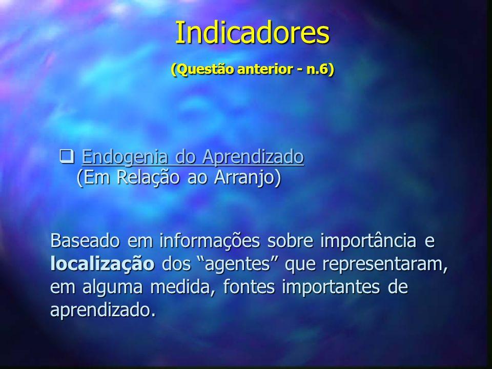 Indicadores (Questão anterior - n.6) Endogenia do Aprendizado Endogenia do AprendizadoEndogenia do AprendizadoEndogenia do Aprendizado (Em Relação ao